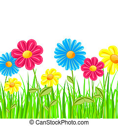 Natur design - Vector illustration of colorful flowers on a ...