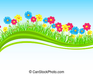 Natur design - Vector illustration of colorful flowers on a...