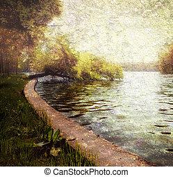 natur, fridfull, pastell, -, träd, och, insjö