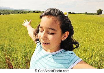 natur, frihet, framtid, mänsklig, klar, lycka