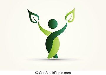 natur, gesunde, leute, grün, blättert, logo, ikone