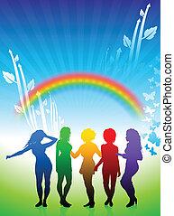 natur, hintergrund, tanzen, frauen, regenbogen, sexy, junger