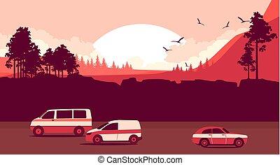 natur, hos, solnedgång