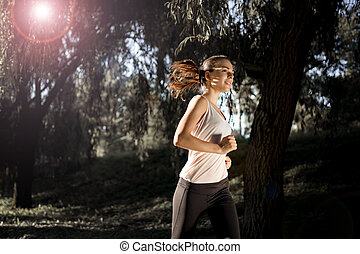 natur, jogging, schöne frau