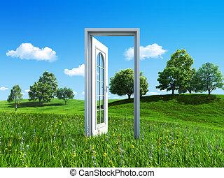 natur, kollektion, -, dörr, till, framgång