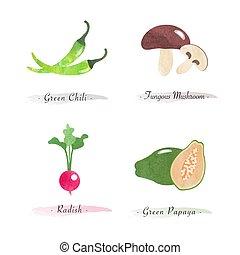 natur, pflanze, grün, rettich, schwammerl, chili, organische...