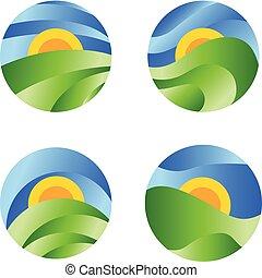 natur, runder , landschaftsbild, ikone, gelber , sonnenaufgang, in, der, grünes feld, auf, der, blaues, sky., vektor, abstrakt, kreis, logo.