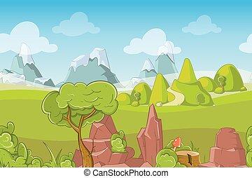 natur, seamless, vektor, landskab, hos, bakkerne, træer, og, bjerge