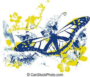 natur, skönhet, med, fjäril, och, synhåll