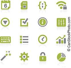 natura, 系统, icons., settings