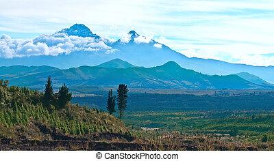 natura, 5263m, norte, -, andes., reserve., ilinizas, ilinizas, questi, 5126m, 2, volcanos:, ecuador., iliniza, los, sur