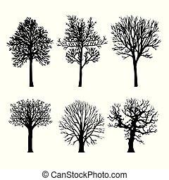 natura, albero, arido, silhouette, vettore, nero, illustrazione, ramo, foresta