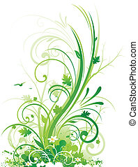 natura, astratto, disegno floreale