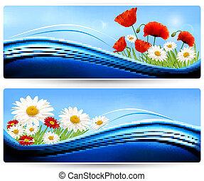 natura, bandiere, con, colorare, flowers., vector.