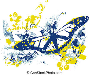 natura, bellezza, con, farfalla, e, vista