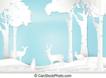 natura, carta, paesaggio, coniglio, cervo, stile, arte, fondo, forest., standing, illustration.