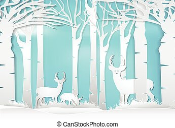 natura, carta, paesaggio, stile, cervo, arte, fondo, forest., standing, illustration.