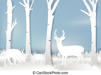 natura, carta, paesaggio, stile, cervo, arte, fondo, meadow., standing, illustration.