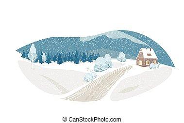 natura, casa, neve, isolato, carino, abete, fondo., rustico, hill., inverno, vettore, casa, pupazzo di neve, esterno, scenario, nord, paesaggio, scena, strada, albero