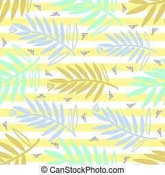 natura, colorito, mano, foglie, disegnato, fondo, giallo, seamless, modello, striscia