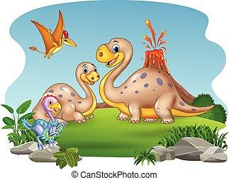 natura, dinozaury, tło, macierz, niemowlę, rysunek