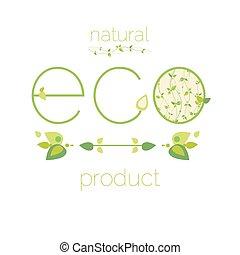 natura, eco, astratto, simbolo, vettore, lettera