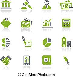 natura, financiën, zakelijk, &, iconen, /