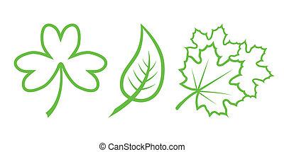 natura, foglie, -, icons., parte, verde, 4