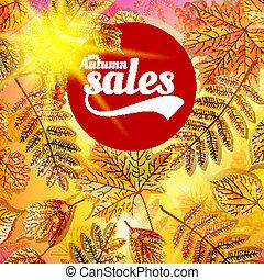 natura, foglie, vendita, giallo, autunno, fondo., cadere