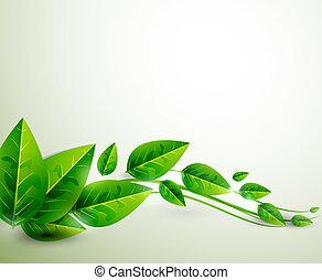 natura, foglie, volare,  , vettore, sfondo verde, astratto