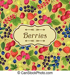 natura, fondo, disegno, con, berries.