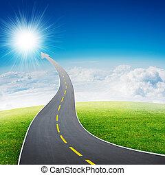 natura, freccia, andare, autostrada, strada