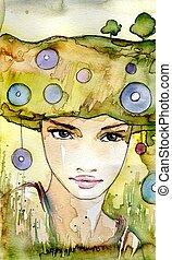natura girl - Stock Photo: Watercolor illustration of a...