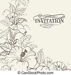 natura, hibiscus., karta, rozkwiecony