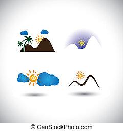 natura, icone, vettore, set, -, montagne, tramonti, cielo, &, sorgere sole