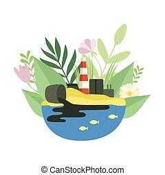 natura, ilustracja, stos, środowiskowy, ekologiczny, wektor, toksyczny, fabryka, tracić, problem, skażenie