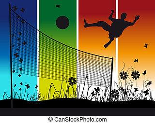 natura, lato, gra, siatkówka, ludzie