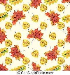 natura, modello, foglie, seamless, autunno, fondo