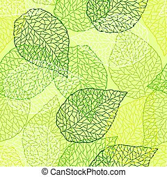 natura, modello, leaves., seamless, stilizzato, verde