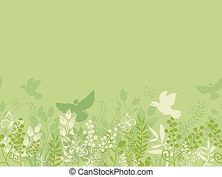 natura, modello, seamless, sfondo verde, orizzontale, bordo