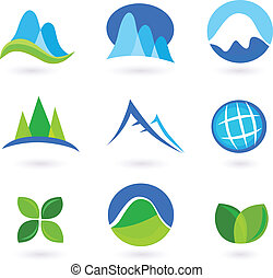natura, montagna, turism, icone