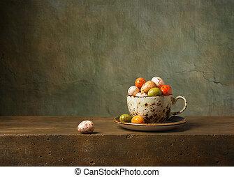 natura morta, con, cioccolato uova pasquali