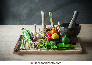 natura morta, di, verdura, cibo, e, attrezzo cucina, oggetto