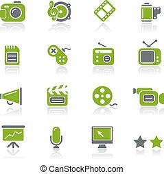 natura, multimedia, /, ícones