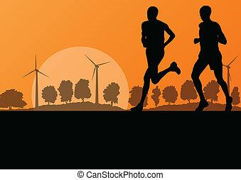 natura, okolica, mężczyźni, ilustracja, wektor, generatory, maraton, tło, dziki, wiatr, biegacze, krajobraz, las