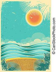 natura, papier, światło słoneczne, tło, dłonie, texture..vector, stary, tropikalny, motyw morski, kolor, ilustracja, rocznik wina