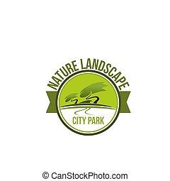 natura, park, landscaping, projektować, krajobraz, ikona
