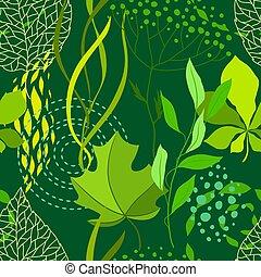 natura, próbka, leaves., seamless, stylizowany, zielony