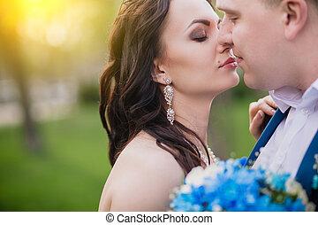 natura, primavera, coppia, ritratto sposa, baciare