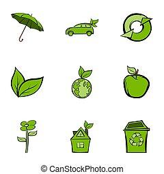 natura, protezione, icone, set, cartone animato, stile
